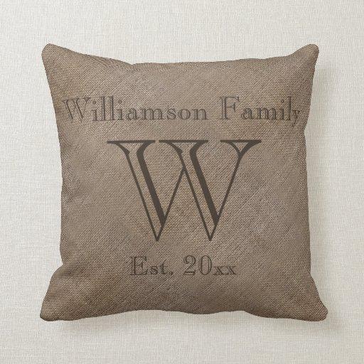Custom Rustic Burlap-Look Family Keepsake Pillow Zazzle