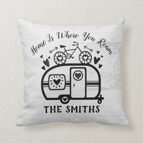 Custom Rustic Camping Camper Trailer Rv Lifestyle Throw Pillow