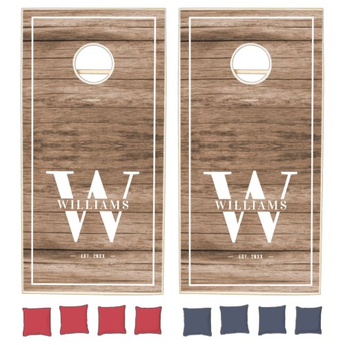 Custom Rustic Farmhouse Family Monogram Name Wood Cornhole Set