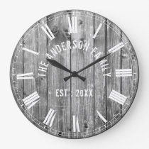 Custom Rustic Grey Wood Family Name Farmhouse Large Clock