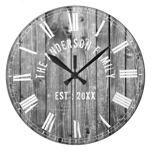 Custom Rustic Grey Wood Family Name Farmhouse Large Clock