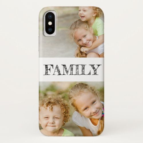 Custom Rustic Hand Lettered Family 2 Photo Collage Phone Case
