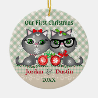 Custom Rustic Hipster Cats 1st Christmas Ornament