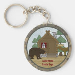Custom Rustic Lodge Cabin Keys with Bear and Moose Basic Round Button Keychain