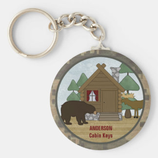 Custom Rustic Lodge Cabin Keys with Bear and Moose Keychain
