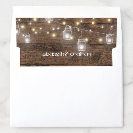 Custom Rustic Mason Jars and String Lights Wedding Envelope Liner