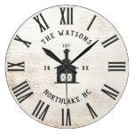 Custom Rustic Modern Farmhouse Family Name Vintage Large Clock
