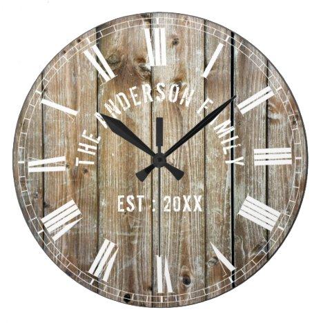 Custom Rustic Planks Wood Family Name Farmhouse Large Clock