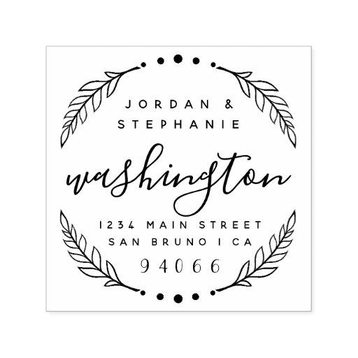 Custom Rustic Script Just Married Return Address Self-inking Stamp