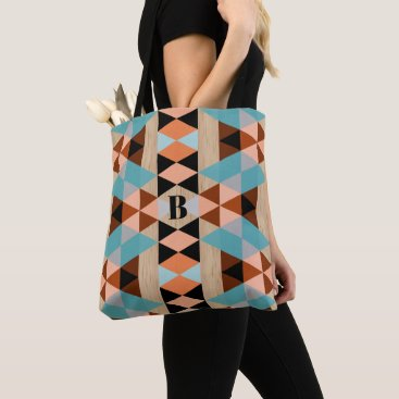 Aztec Themed Custom Rustic Squares Triangles Wood Art Pattern Tote Bag