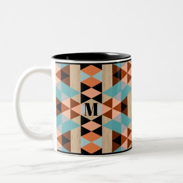Aztec Themed Custom Rustic Squares Triangles Wood Art Pattern Two-Tone Coffee Mug