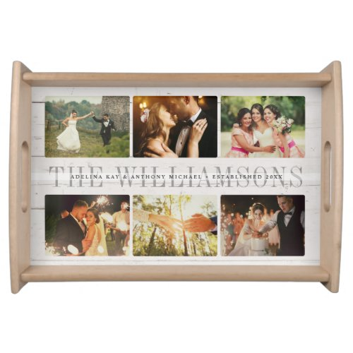 Custom Rustic Wedding Family Name Photo Collage Serving Tray