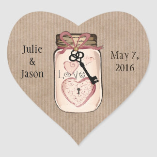 Custom Rustic Wedding Mason Jar Heart Stickers