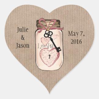Custom Rustic Wedding Mason Jar Heart Stickers