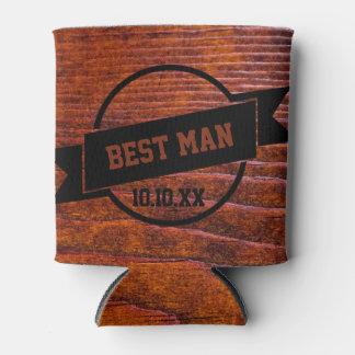 Custom Rustic Wedding Wood Grain Photo Can Cooler