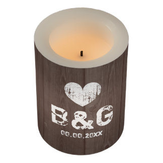 Custom rustic wood grain LED wedding candle lights
