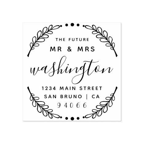 Custom Rustic Wreath | The Future Mr & Mrs Address Rubber Stamp