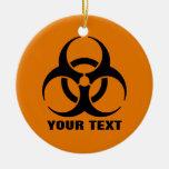 Custom Safety Orange Biohazard Symbol Warning Sign Ceramic Ornament