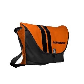 Custom Safety Orange/Black Racing Stripe Messenger Messenger Bag