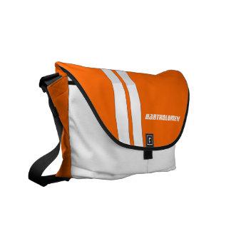 Custom Safety Orange/White Racing Stripe Messenger Messenger Bag