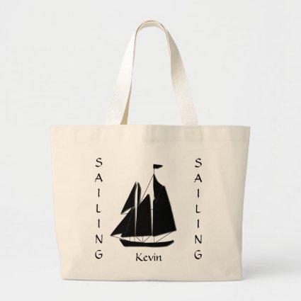 Custom Sailboat Sea Silhouette Tote Bag