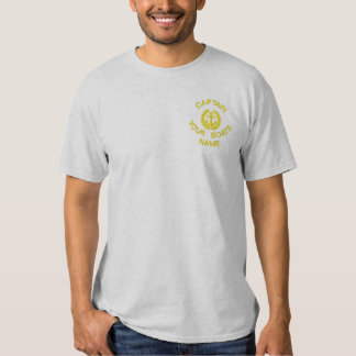 Custom sailing boat captain and anchor embroidered T-Shirt