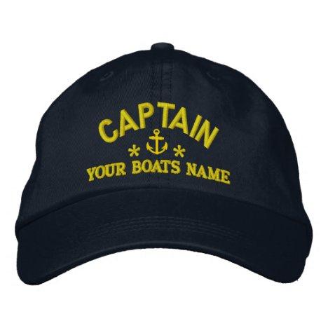 Custom sailing boat captains embroidered baseball cap