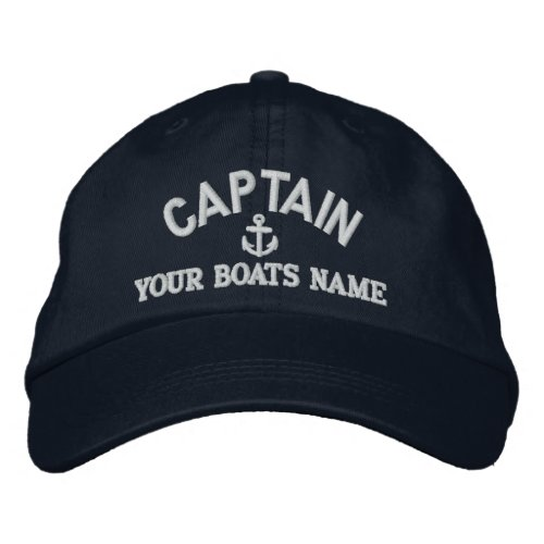 Custom sailing captains embroidered baseball cap