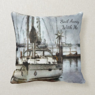 """Custom Sailing Pillow - 16"""" x 16"""" - Sailboat"""