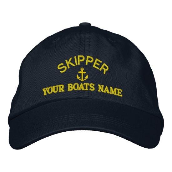 Custom sailing skipper captains embroidered baseball cap
