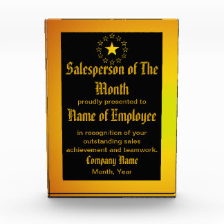 Custom Salesperson of The Month Award
