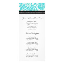 Custom Salon Rack Cards Aqua Black Damask