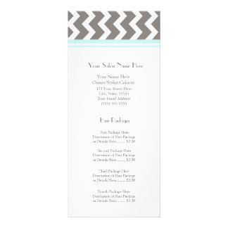Custom Salon Rack Cards Aqua Grey Chevron