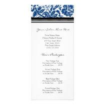 Custom Salon Rack Cards Blue Black Damask