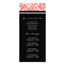 Custom Salon Rack Cards Coral Black Damask