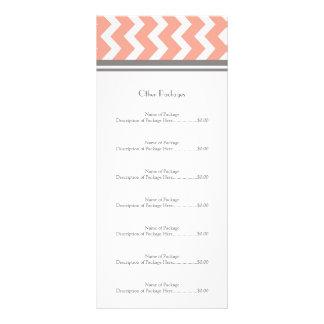 Custom Salon Rack Cards Coral Grey Chevron