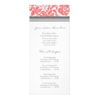 Custom Salon Rack Cards Coral Grey Damask