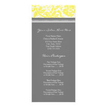 Custom Salon Rack Cards Yellow Grey Damask