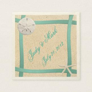 Custom Sand Dollar Beach Wedding Paper Napkins
