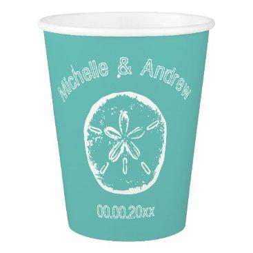 Beach Themed Custom sand dollar beach wedding party paper cups