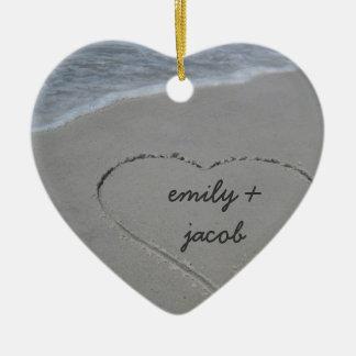 Custom Sand Heart Our First Christmas Ornament