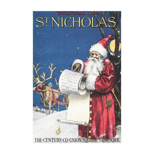 CUSTOM SANTA CANVAS WRAP 1914 ST NICHOLAS COVERART
