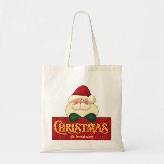 Custom Santa | Christmas | Red and Green Budget Tote Bag