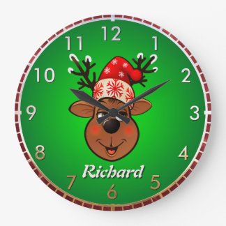Custom Santa Claus's Reindeer Wallclocks