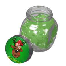 Custom Santa Claus's Reindeer Glass Candy Jar