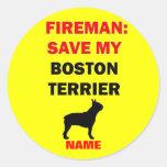 Custom Save My Boston Terrier Round Sticker