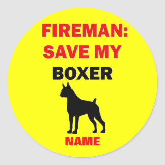 Custom Save My Boxer Classic Round Sticker