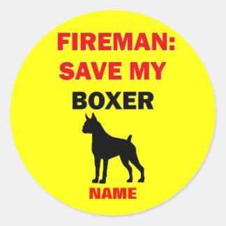 Custom Save My Boxer Round Stickers