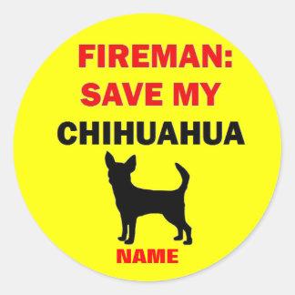 Custom Save My Chihuahua Classic Round Sticker