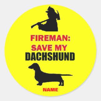 Custom Save My Dachshund Classic Round Sticker